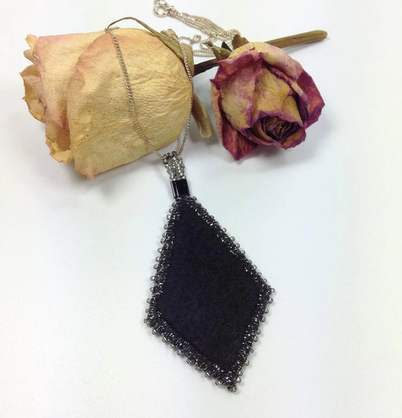 Soft black felt for comfort on back of pendant