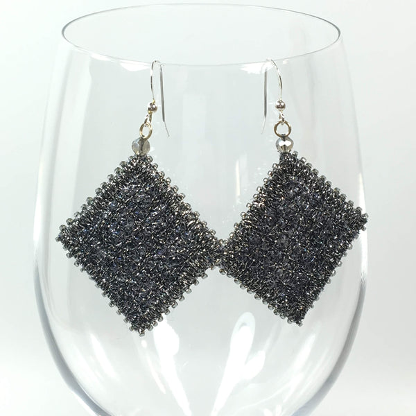 Textile art silver dangle earrings
