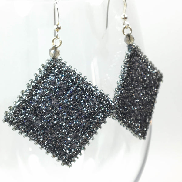 Silver black contemporary earrings