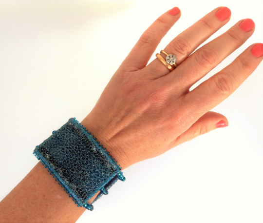 Turquoise blue sparkle sea inspired contemporary cuff bracelet