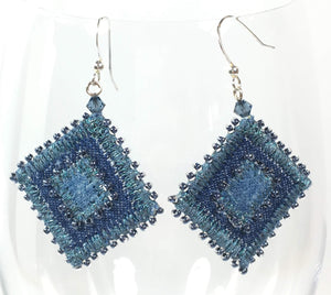 Denim and indigo beaded earrings