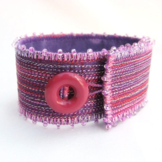Purple & pink embroidered lines cuff bracelet