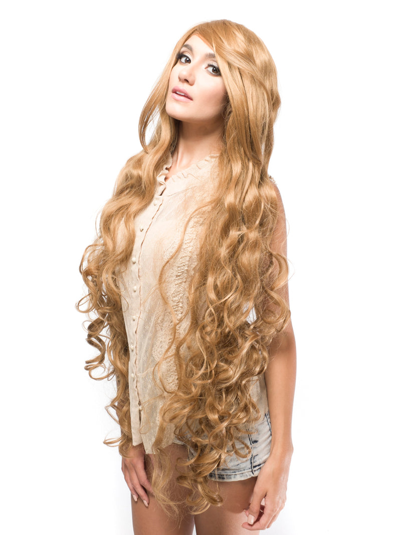 100cm Light Brown Fluffy Wavy Synthetic Wig