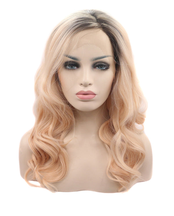 "Medium Brown Ombre 18"" Wavy Wig"