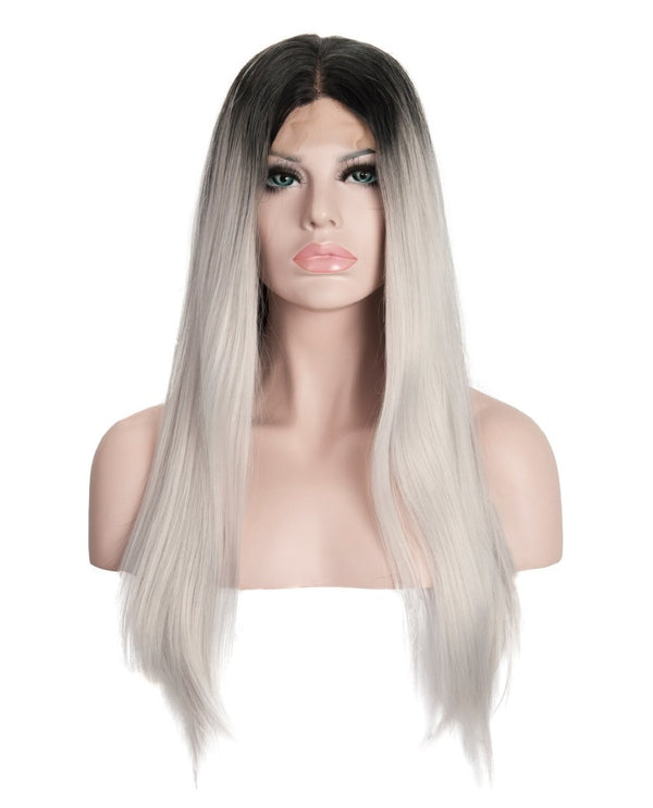 "Gray Mix Ombre 22"" Straight Wig"