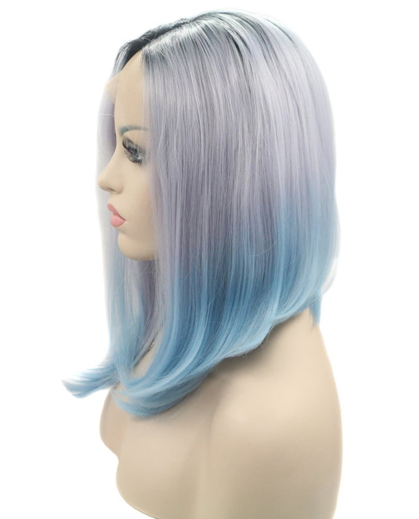 "Ice Blue Ombre 14"" Straight Wig"