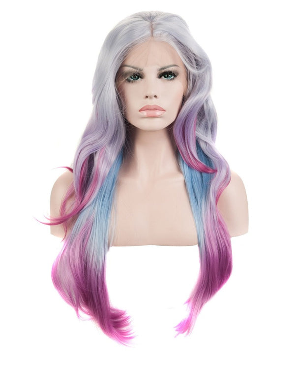 "Gray Multi-Color Ombre 22"" Wavy Wig"