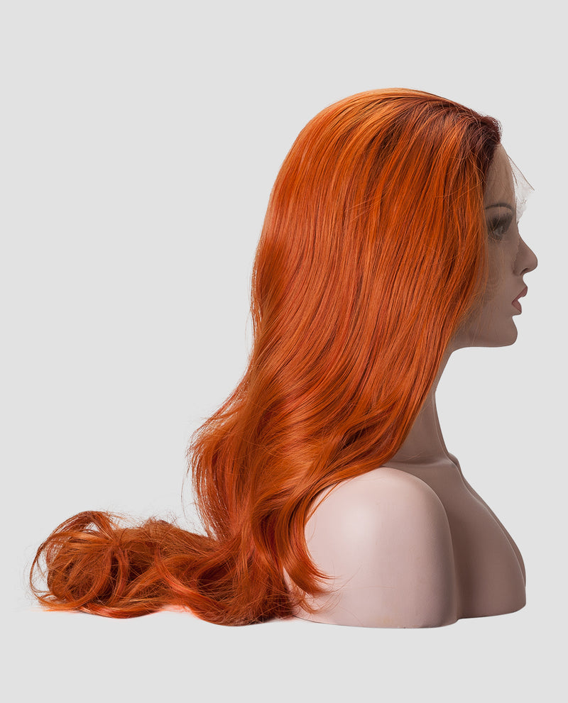 "Ombre Orange Wavy 24"" Synthetic Lace Front Wig"
