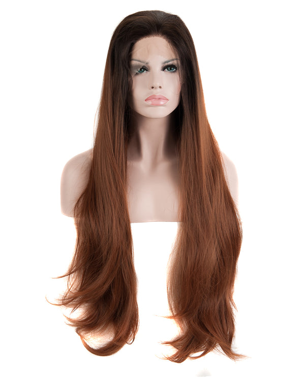 "Synthetic Black/Brown 24"" Straight Ombre Lace Front Wig"
