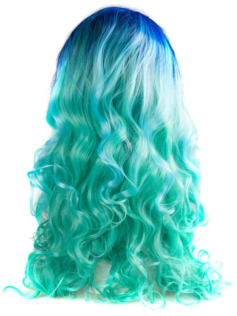 "Bright Blue Ombre 24"" Wavy Wig"