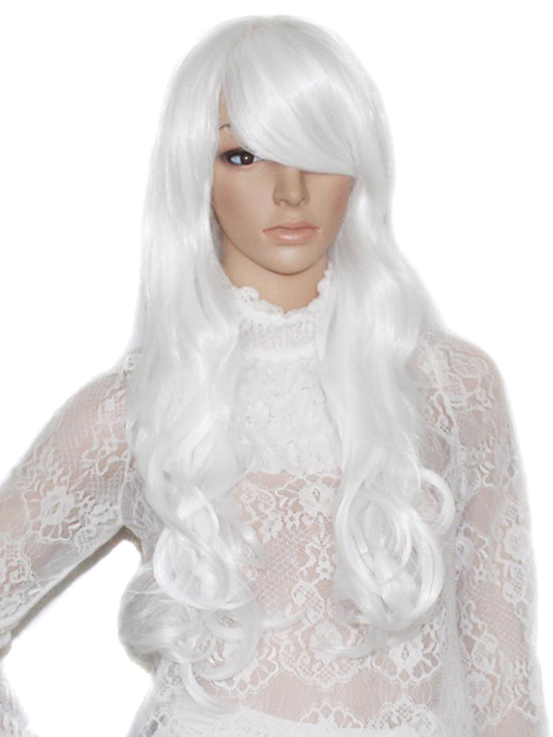 Ice White Swept Bang Wavy Costume Wig