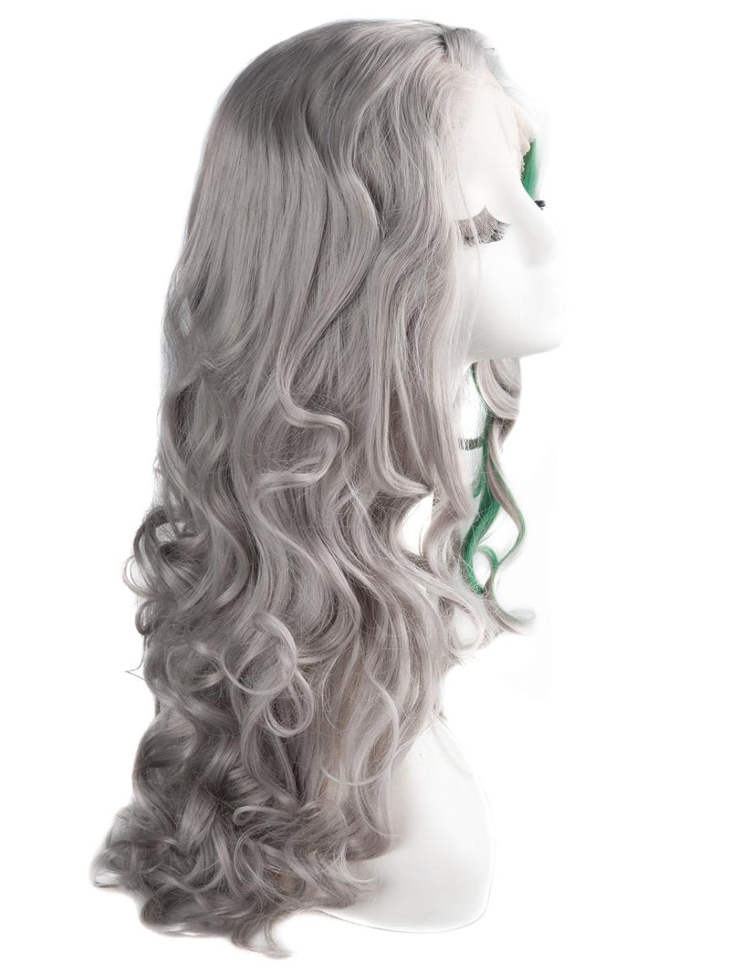 "Pastel Grey with Green Highlight 26"" Wavy Wig"