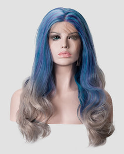 "Blue/Gray Wavy 18""  Synthetic Lace Front Wig"