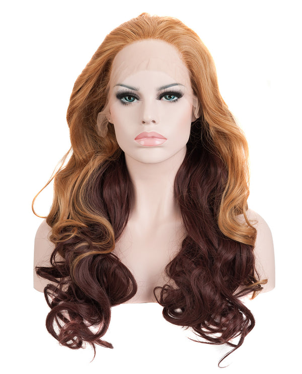 "Medium Brown Ombre 20"" Wavy Wig"