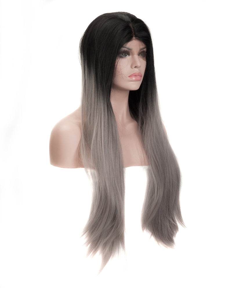 "Gray Mix Ombre 24"" Straight Wig"