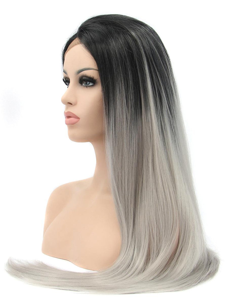 Long Straight Synthetic Lace Front Wig - Black/Grey
