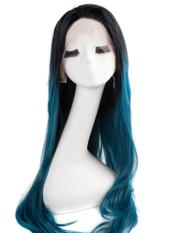 Black and Medium Blue Ombre 24""