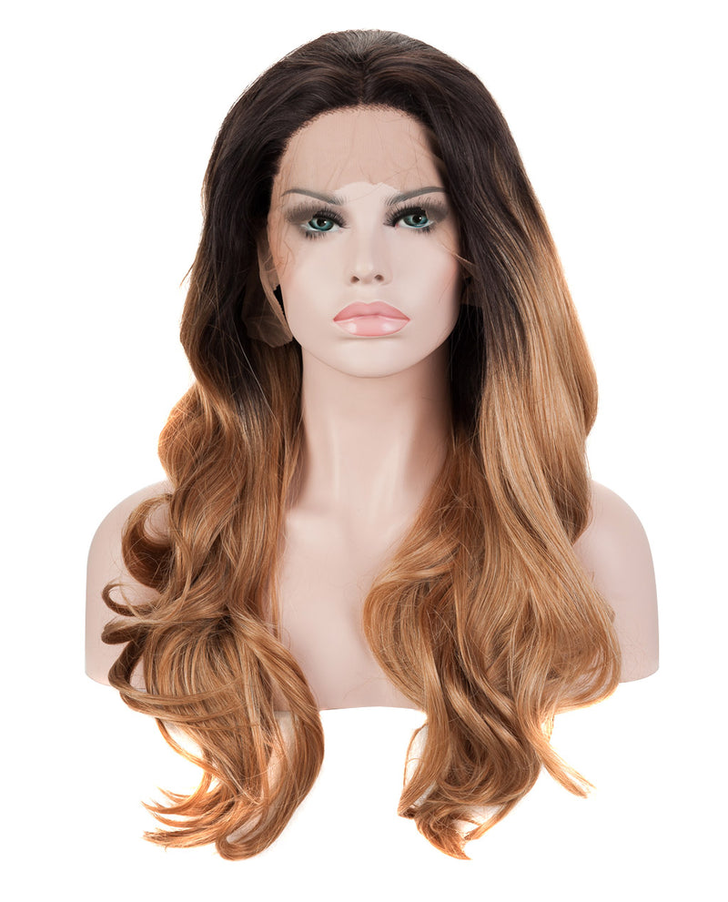 "Dark Brown Ombre 20"" Wavy Wig"