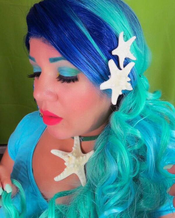 Bright Blue Ombre 24¡± Wavy Wig