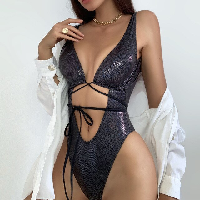 Purxi - Strappy tie up monokini swimsuit