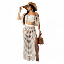 Load image into Gallery viewer, Purxi - 2 Piece crochet tassel top and long skirt set