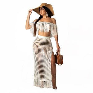 Purxi - 2 Piece crochet tassel top and long skirt set