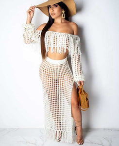 2 Piece crochet tassel top and long skirt set