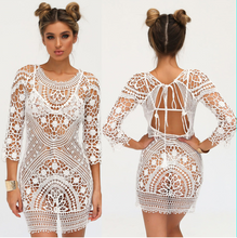 Load image into Gallery viewer, White Crochet Beach Dress