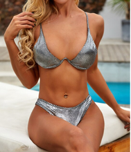 Load image into Gallery viewer, Mermaid micro metallic bikini