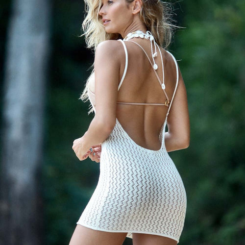 Purxi - Crochet open back beach dress