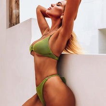 Load image into Gallery viewer, Purxi - Army green ribbed bikini