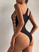 Load image into Gallery viewer, Purxi - Strappy one shoulder swimsuit with gold accent