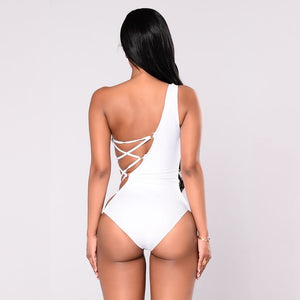 Purxi - One shoulder side tie swimsuit