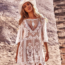 Load image into Gallery viewer, Purxi - White lace boho beach dress