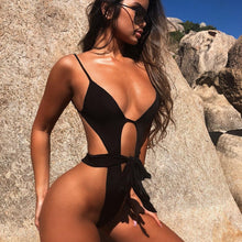 Load image into Gallery viewer, Purxi - Black cut out string swimsuit