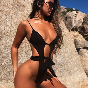 Purxi - Black cut out string swimsuit