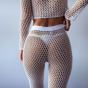 Purxi - Crochet Mesh Top and Leggings Beach Wear