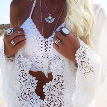 Load image into Gallery viewer, Purxi - Halter Crochet Beach Top