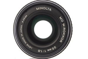 【NEAR MINT+++】MINOLTA MD W ROKKOR 35MM F/1.8 WIDE ANGLE LENS 2X MX TELEPLUS MC7