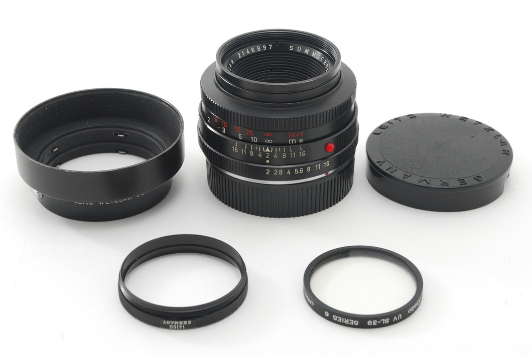 【NEAR MINT】LEICA LEITZ SUMMICRON R 50MM F/2 1CAM W/ HOOD,FILTER,CAPS FROM JAPAN