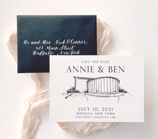 Kleinhans Music Hall Illustration Save the date by Rust Belt Love with black envelope and white calligraphy