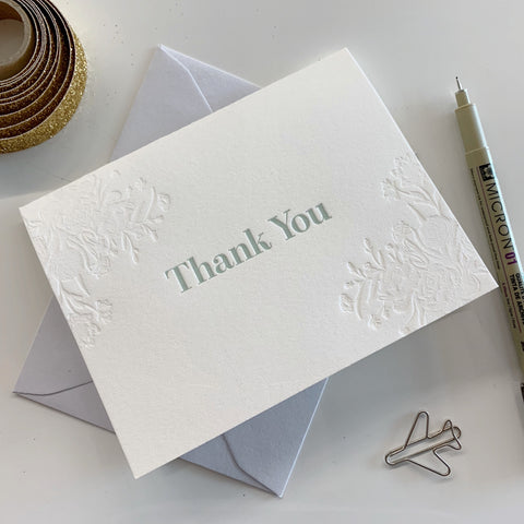 Mint Letterpress Thank You Card Pack