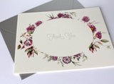 Purple Floral Letterpress Thank You Card Pack