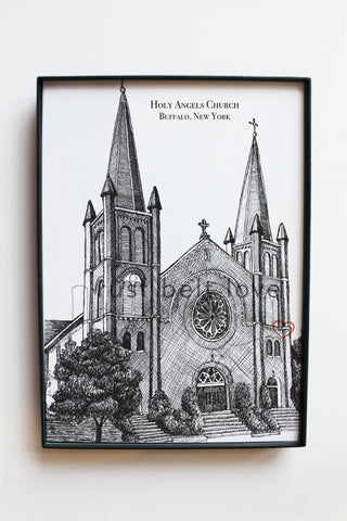Holy Angels Church Illustration Print - Buffalo, NY