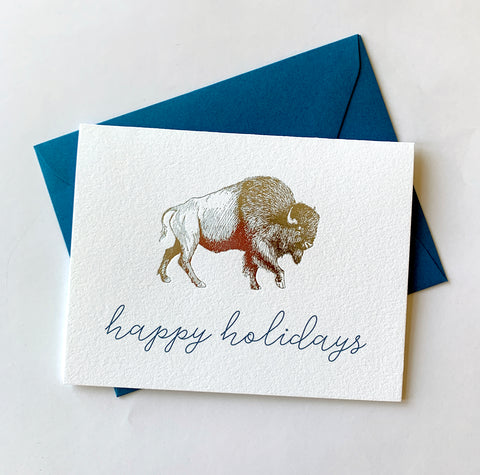 Happy Holidays Foil Buffalo Holiday Card Pack