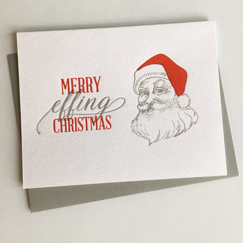 Merry Effing Christmas Letterpress Greeting Card