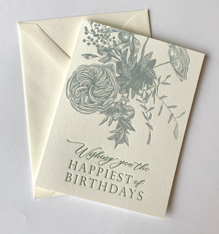 Wishing You the Happiest of Birthdays Letterpress Greeting Card