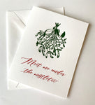 Meet Me Under the Mistletoe Holiday Letterpress Greeting Card
