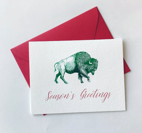 Season's Greetings Foil Buffalo Holiday Card Pack