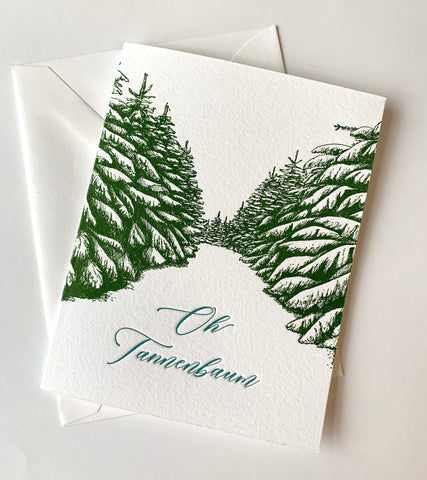 Oh Tannenbaum Holiday Letterpress Greeting Card